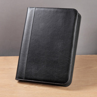 High Quality Professional Business Zippered A4 Padfolio PU Leather Modern Portfolio with Calculator Pockets For Office Supply