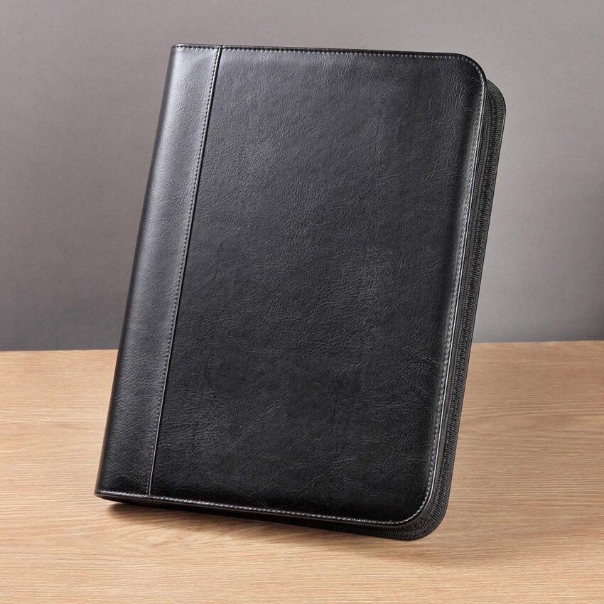 Portefeuille moderne en cuir PU A4 à fermeture à glissière professionnelle de haute qualité avec poches calculatrice pour fournitures de bureau