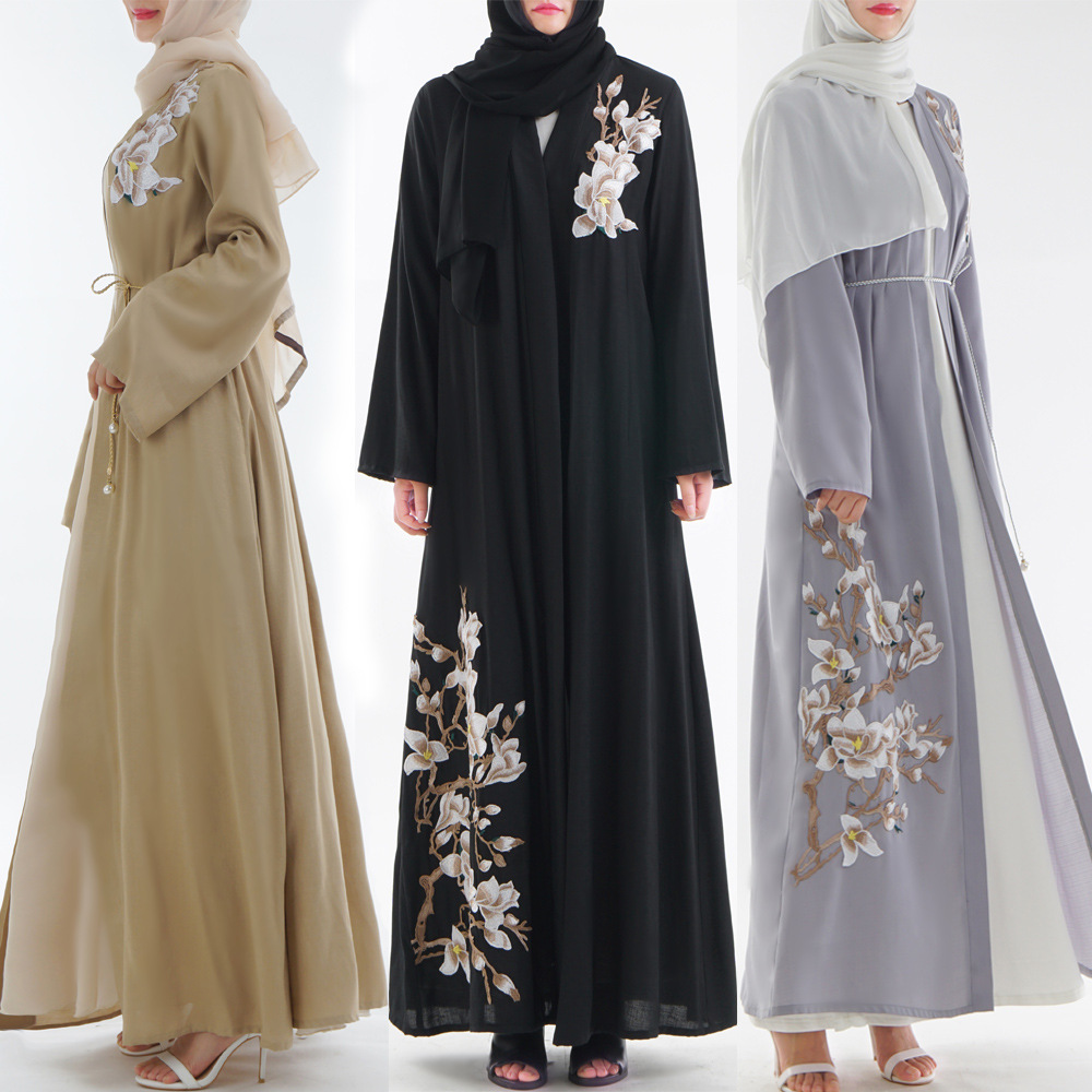 Islamic lady Muslim women outwear embroidery floral abaya dress