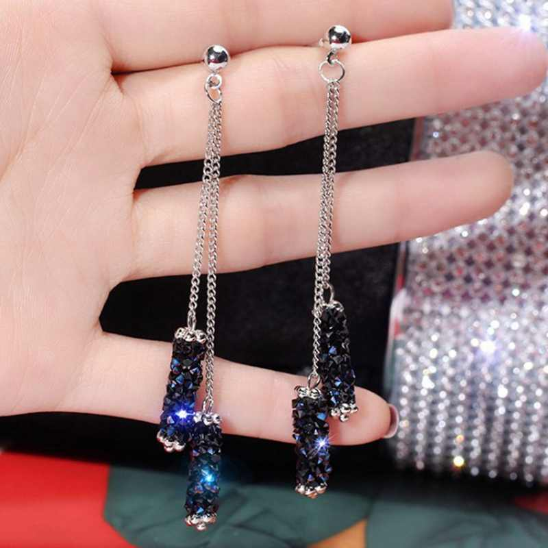 Korean Fashion Personality Crystal Geometric Cylindrical Tassel Earrings Bridal Earring Earrings For Women Long Earrings Jewelry