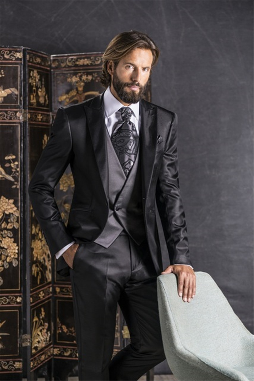 2019 Italien 3 Bal De Manteau Pantalon Smokings Dernière Hommes Masculino Pièce Style Marié Noir Terno Satin Costumes Mariage Dîner Designs rzAqrPnZ