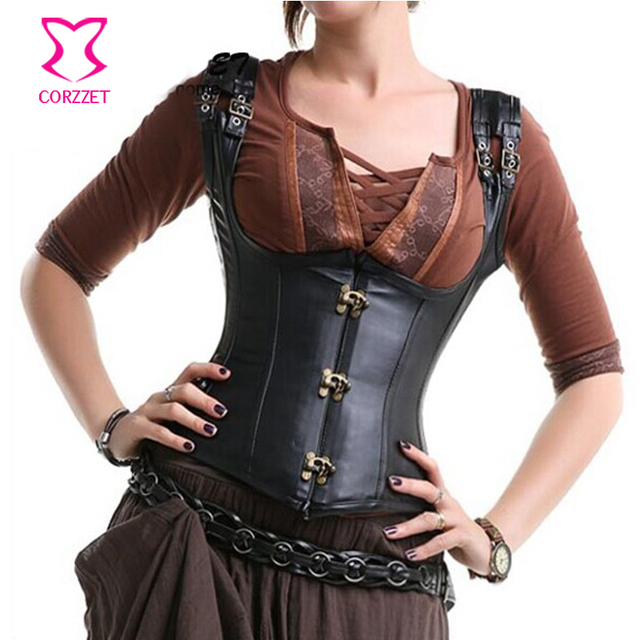 d56998a903 Black Faux Leather Cupless Bustier Steel Waist Trainer Underbust Corset  with Straps Gothic Corsets Steampunk Clothing Korsett
