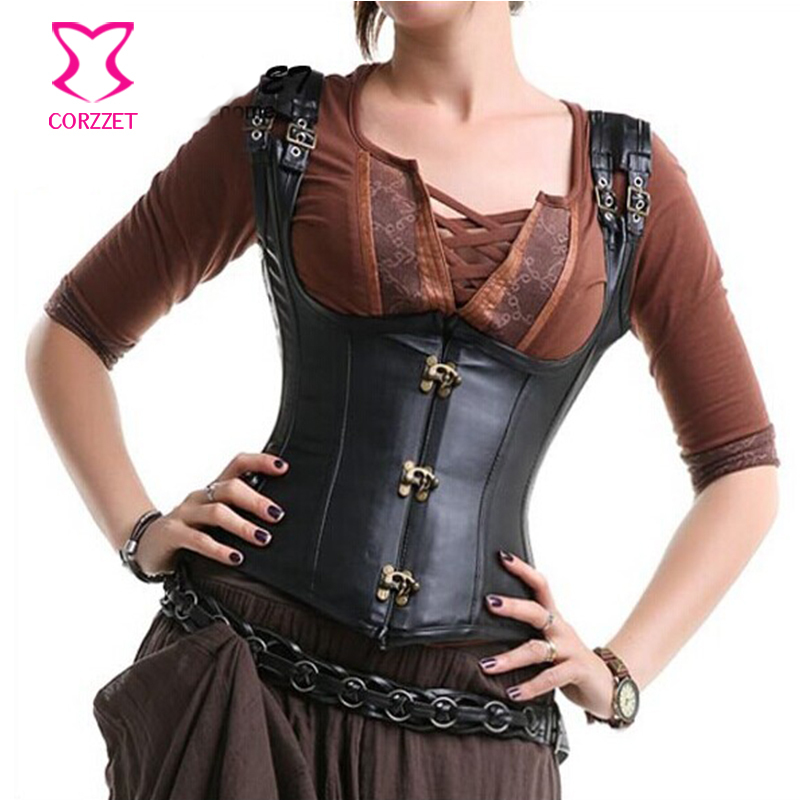 Black Faux Leather Cupless   Bustier   Steel Waist Trainer Underbust   Corset   with Straps Gothic   Corsets   Steampunk Clothing Korsett