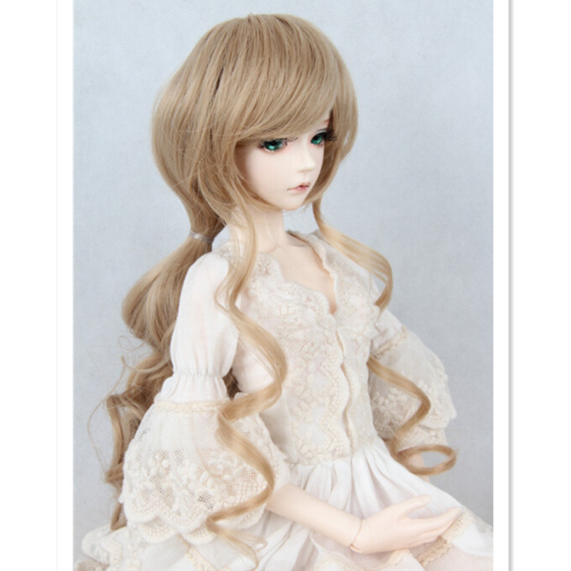 New Style Long Curly Hair BJD Wig Accessories for Dolls,New Synthetic Doll Hair Wavy Wigs for 1/3 1/4 SD BJD Dolls 3 4 half wig synthetic 25 dark black to coffee brown ombre long curly hair wigs