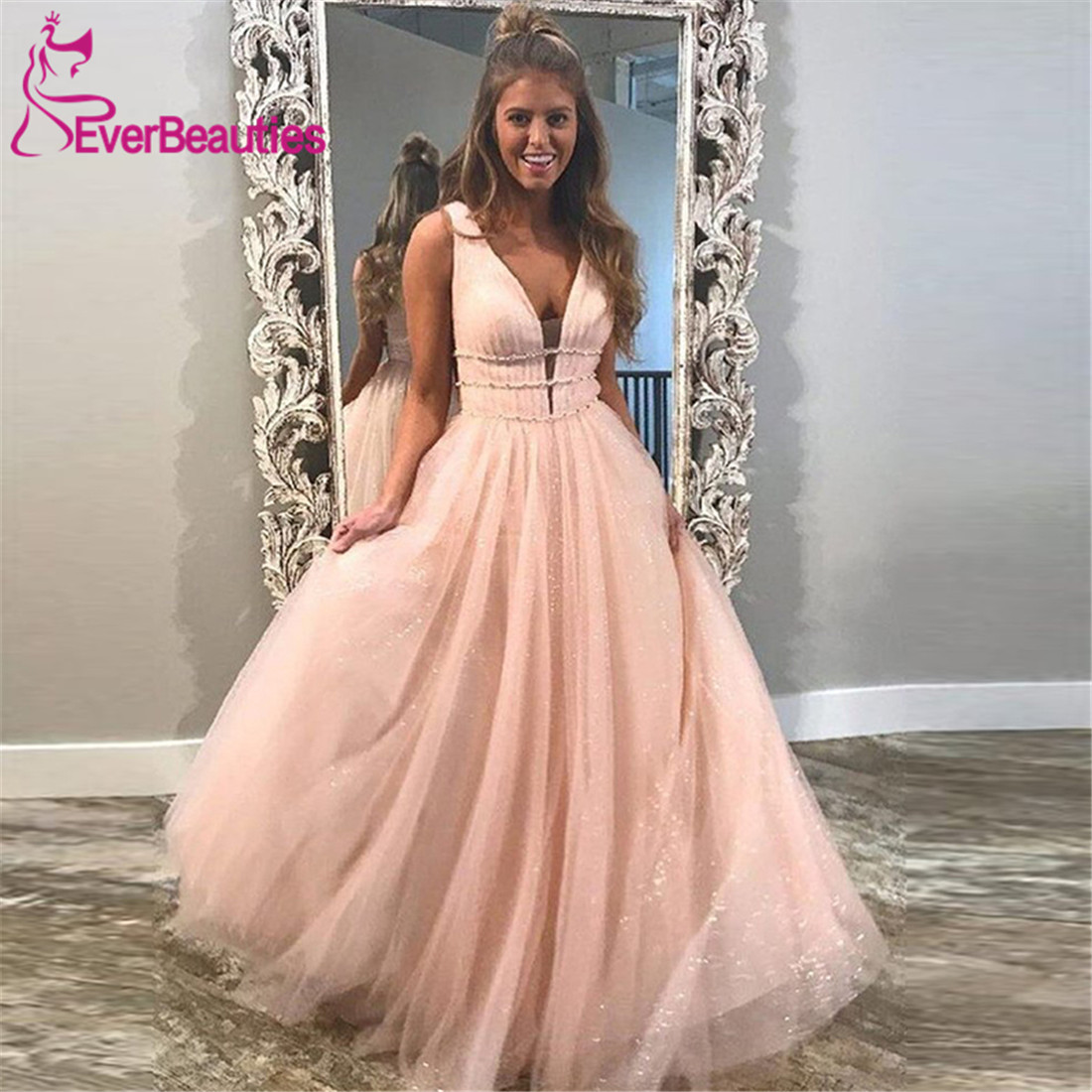 Sparkly A-Line Long   Prom     Dresses   V Neck Formal   Dresses   Vestidos De Gala   Prom   Gown Robe De Soiree