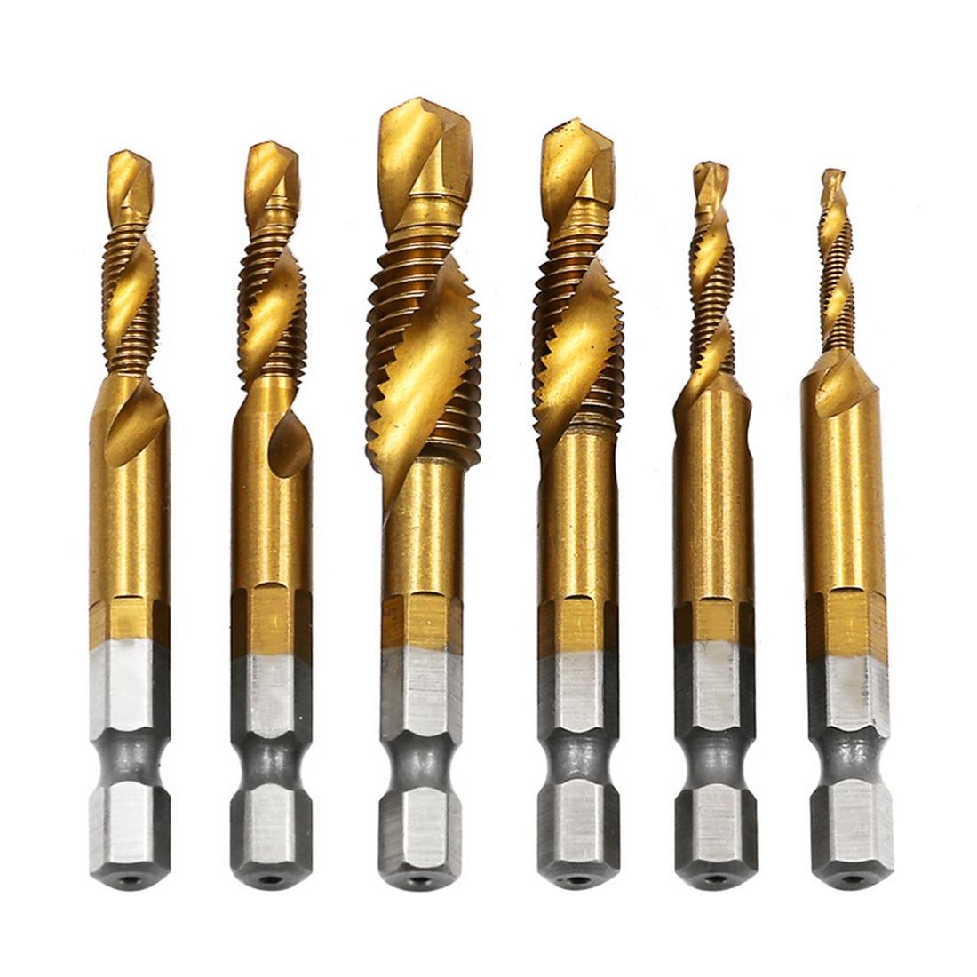 Hand Tap Drill Bits HSS 4341 Screw Spiral Point Thread M3 M4 M5 M6 M8 M10 Metalworking Hex Shank Machine Taps Kit Metric Plug