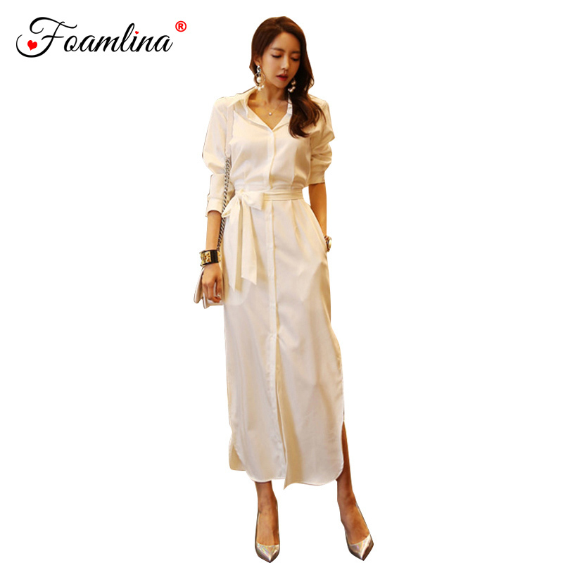 Foamlina Women <font><b>Dress</b></font> <font><b>2018</b></font> Fashion Autumn Shirt <font><b>Dress</b></font> Elegant Ladies White Long Sleeve Buttons <font><b>Work</b></font> Office Long Split <font><b>Sexy</b></font> <font><b>Dress</b></font> image