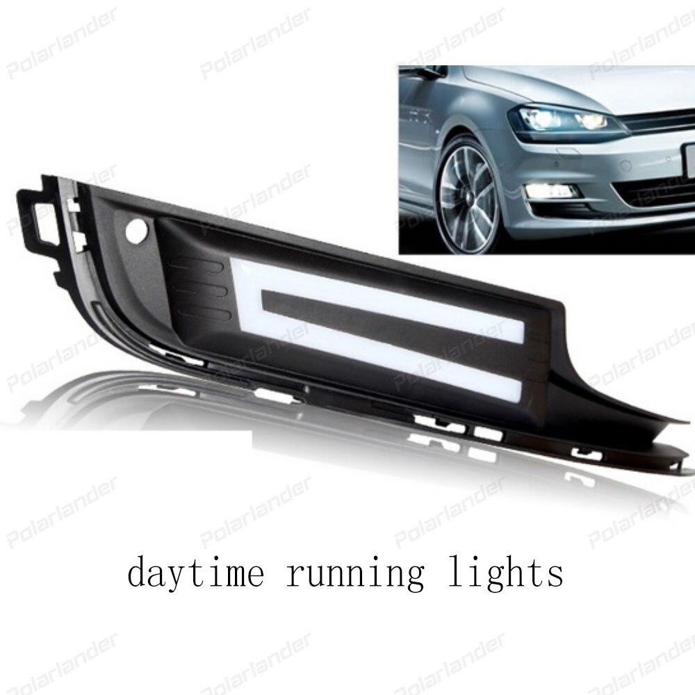 1 pair Daytime Running Lights For V/olkswagen Golf 7 2014 2015  LED DRL with Turning Signal Lights Fog lamp
