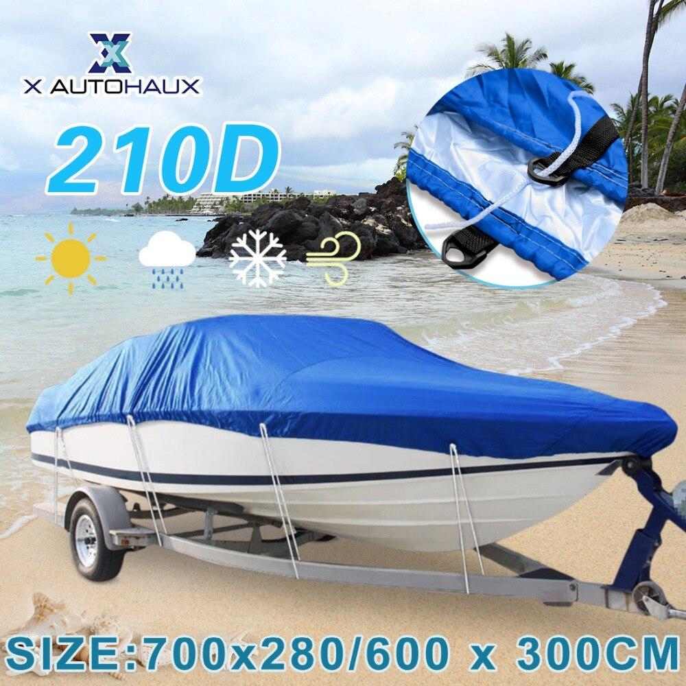 X AUTOHAUX 540/570/600/700x300 cm 210D Couverture De Bateau Remorquable Imperméable Pêche Ski Basse hors-bord en forme de V Bleu Couverture de Bateau