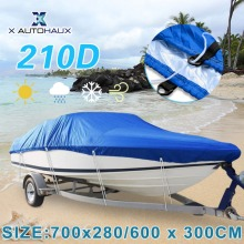 X AUTOHAUX 540/570/700 x 280/300CM 210D Trailerable Boat Cover Waterproof Fishing Ski Bass Speedboat V-shape Blue