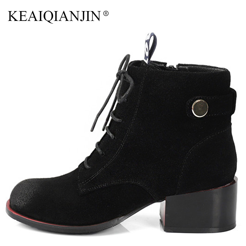 KEAIQIANJIN Woman Lace Up Martin Boots Plus Size 33 41 43 Autumn Winte Black High Heeled Shoes Genuine Leather Rivet Ankle Boots keaiqianjin woman rivet motorcycle boots autumn winter bottine plus size 33 43 shoes black red genuine leather ankle boots
