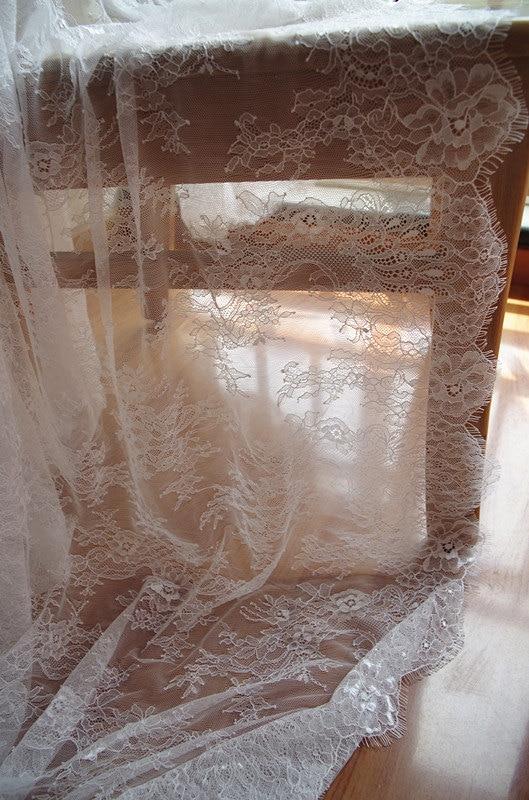 3 yards off white Chantilly eyelash lace fabric bridal lace retro wedding lace fabric with scalloped