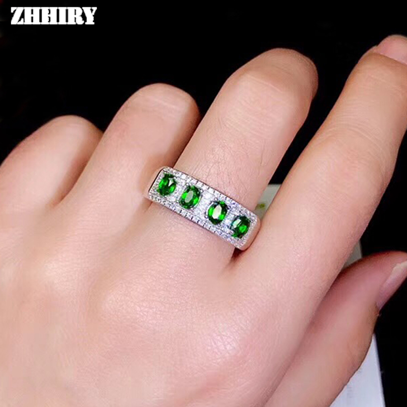 ZHHIRY Genuine Natural Diopside Ring 925 Sterling Silver Real Gemstone Rings For Women Fine Jewelry ZHHIRY Genuine Natural Diopside Ring 925 Sterling Silver Real Gemstone Rings For Women Fine Jewelry