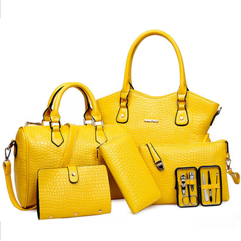 6pcs Women Handbag Set Patent Leather Fashion Crossbody Shoulder Bag Crocodile Large Tote Bag Purse Clutch Yellow Composite Bag luxury womens bag alligator pu patent leather banquet clutch bag lady handbag fashion chain shoulder crossbody bag handbag party