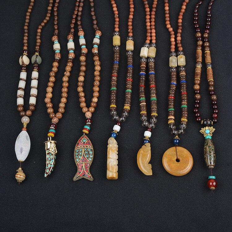 Vintage Ethnic Nepal Totem Wood Pendant Necklace Natural Wood Beads