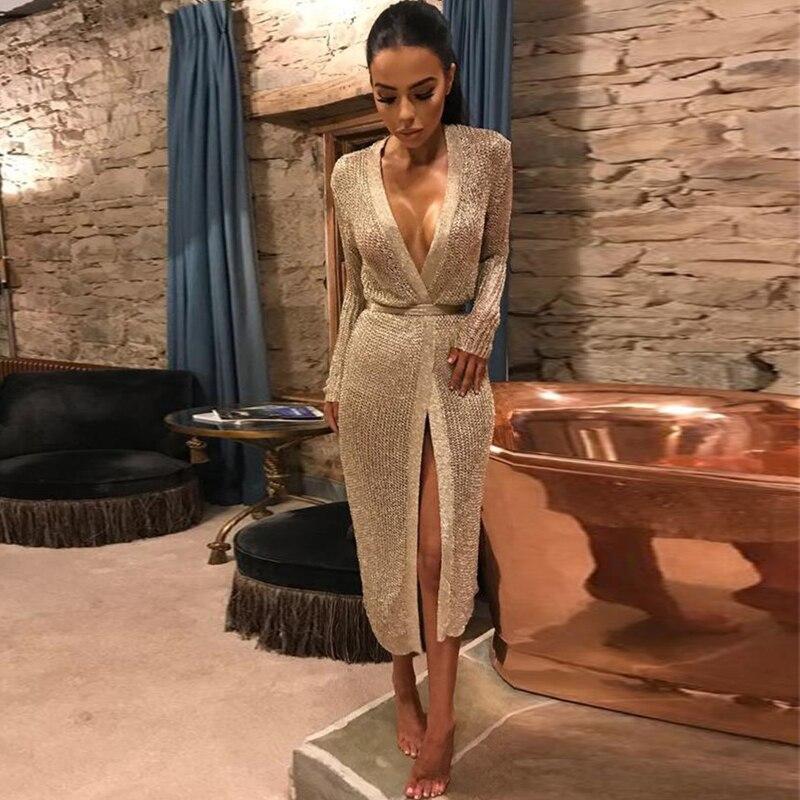 Femmes évider wrap robe Sexy col en v tricoté robe femme tenue de club robes de soirée or Rose robe femme Vestidos 2018 printemps