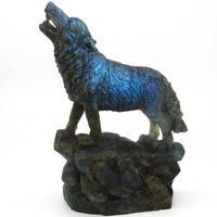 7,68 яркий Лабрадорит украшение в виде волка резной животных Тотем статуя кристалл исцеление украшения дома и офиса