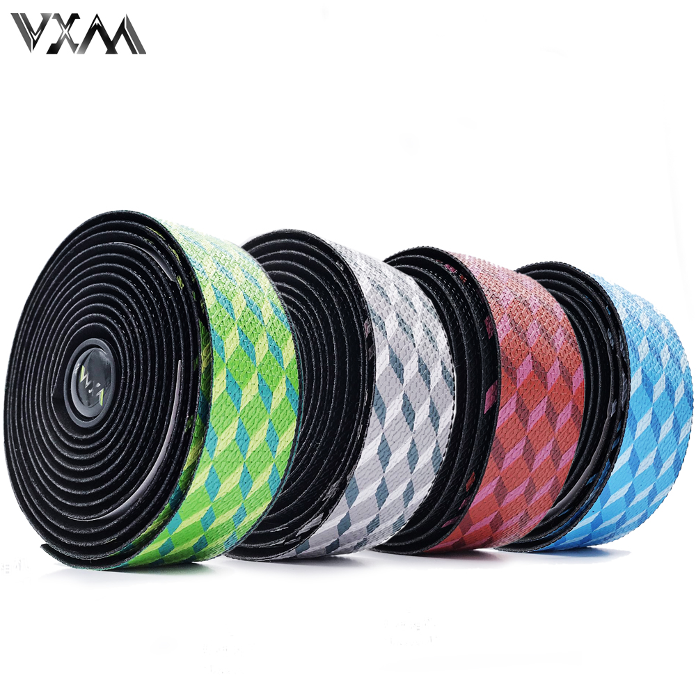 VXMSoft Road Bike Bicycle Handlebar Cork EVA PU Bar Tape Professional Cycling Damping Anti-Vibration Wrap With 2 Bar Plug