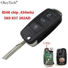 Okeytech مفتاح بعيد 434Mhz ID48 رقاقة 5K0837202AD 3 أزرار لشركة فولكس فاجن فولكس فاجن جولف باسات تيجوان بولو جيتا بيتل هيلا