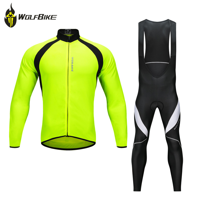 WOSAWE Pro Men Cycling Clothes Sets Bicycle Long Sleeve Jackets Black Soft Gel Pad MTB Bike Riding Sports Suits S-3XL