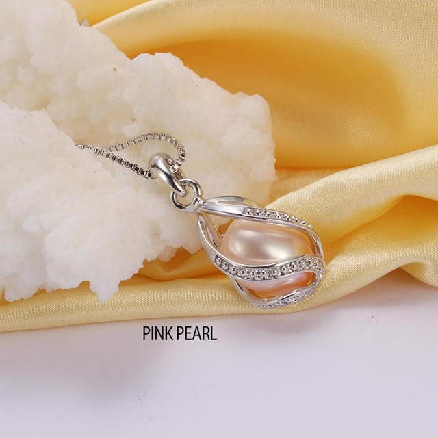 925 Sterling Silver Pendant Necklace with Removable Natural Freshwater Pearl