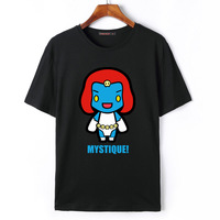 Flevans X Men Print T Shirts Summer Short Sleeve T Shirts Cyclops Nightcrawler Storm Magneto Mystique