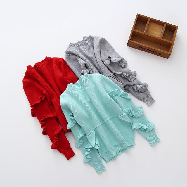 Crianças Meninas ruffles manga comprida Camisola Camisa Primer Camisola de Malha Do Bebê da Criança Do Bebê Bonito Menina Roupas top roupas sólida