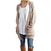 WQJGR Womens Sweaters 2018 Winter Long Fund Will Code Solid Color Pocket Cardigan Flowers Winter Clothes Women