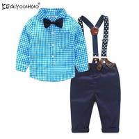 2017 Baby Boy Kleding Sets Herfst Gentleman Pak Pasgeboren Kleding Sets Vlinderdas Zuigeling T-shirt + Jarretel Broek 2 Stks Outfits Suits
