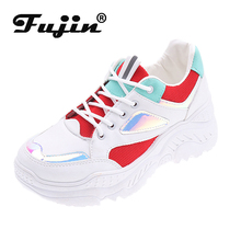 Fujin Fashion Sneakers for Women Trainers Platform White Wedges Mesh Ladies Casual Shoes Zapatillas Chunky Plataforma