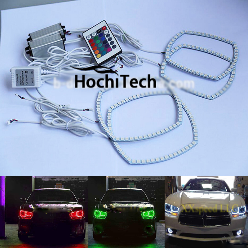 цена на For Dodge Charger 16 kinds of color RGB LED headlight halo angel eyes kit car styling accessories 2011 2012 2013 2014