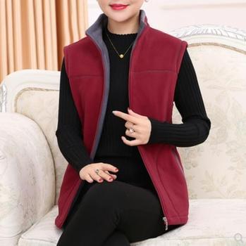 2020 Autumn Winter Vest Middle-Aged Women Plus Size Warm Fleece Vest Womens Standing collar Vintage Vintage Coat Female 5XL LM89 1