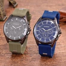 Steel Belt Three-eye Men's Watch Explosion Models Hot Fashion Business Silicone Belt Quartz Watch Anniversary Gifts for Husband