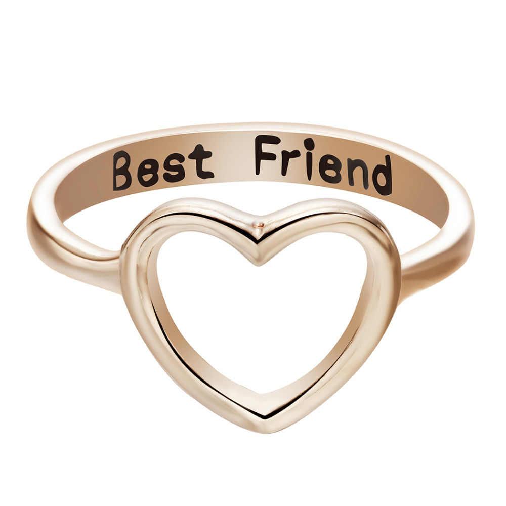 Cxwind meilleur ami coeur anneau coeur forme promesse empilable bande amour anneaux pour les femmes découpe coeur bijoux livraison directe