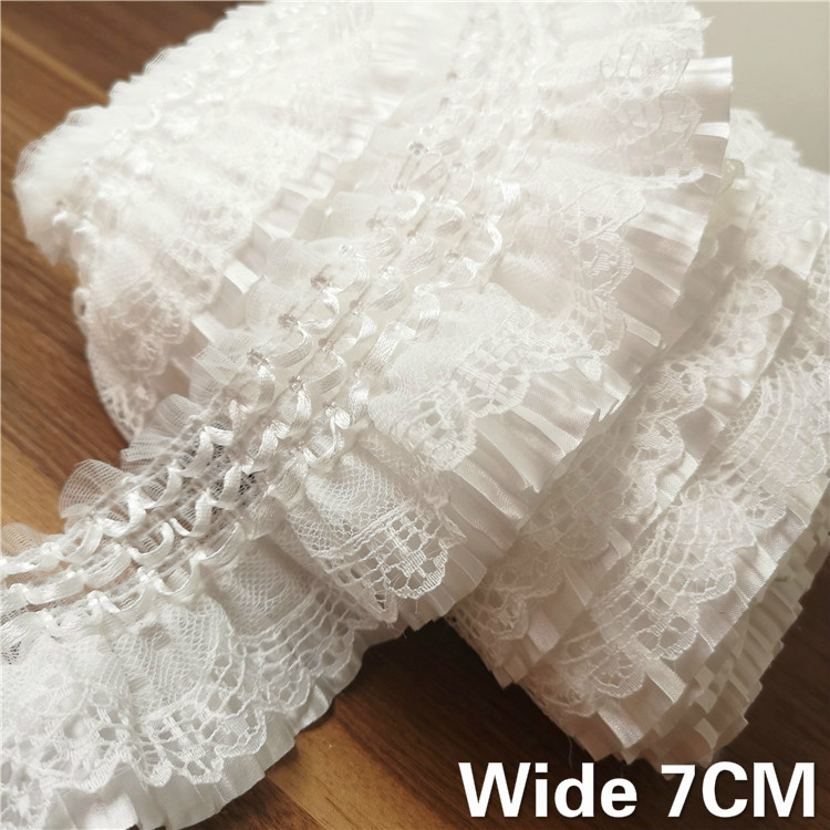 7CM Wide White 3D Lace Applique Embroidery Collar Ribbon Elastic Ruffle Trim Dress Skirts Headwear Sewing DIY Guipure Supplies(China)
