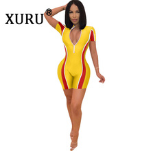 XURU summer new sexy jumpsuit V-neck tight short-sleeved stitching even