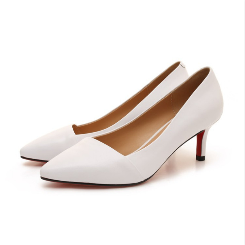 ZOUDKY Leather thin and pointed hollow Rough and pointed buckle Shallowly single shoes
