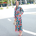 Newest Spring Retro Print Chrysanthemum Butterfly Collar Ruched Women Elegant Tops Set Pockets OL Long Dress Suit