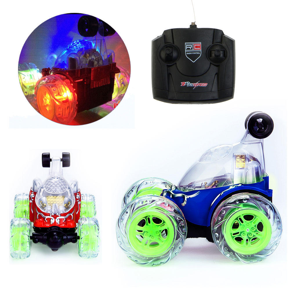 Electric Stunt Car Remote Control Dump-car Tumbling Stunt Car Styling Toy with Flashing LED Light Music Kids Toys for Children