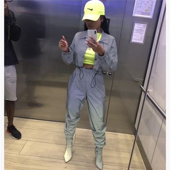 Adogirl Women Sexy Reflective Tracksuit Night Version Buttons Turn Down Collar Long Sleeve Crop Top + Casual Pants Two Piece Set 1