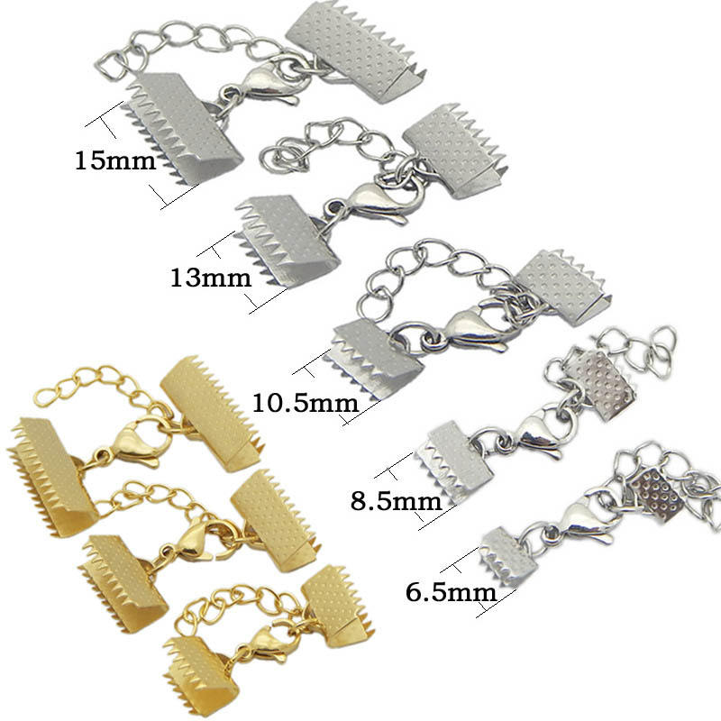 Flat Rope End Crimp Stainless Steel Fastener With Lobster Clasps Tail Connector For Rope Bracelet Making Jewelry DIY Accessories