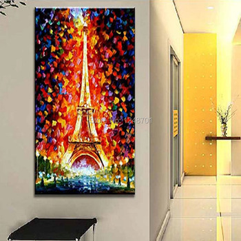 Handpainted modern design night light tower scnery palette knife oil painting on canvas large home wall decoartion art