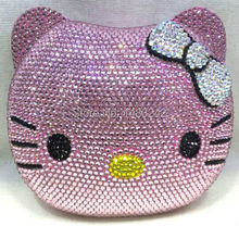Freies verschiffen!! A15-23, rosa farbe mode top kristallsteinen ring handtaschen für damen nette parteibeutel
