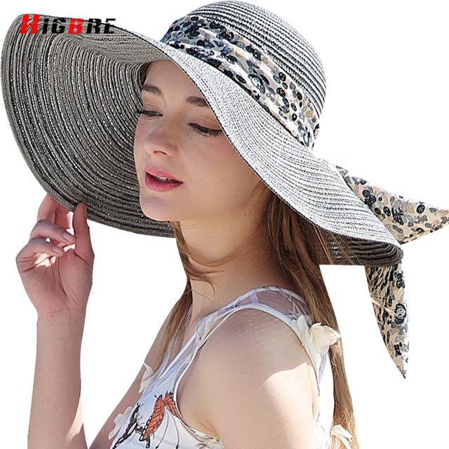 Nuevo Fold Casual Ladies Sombreros de Sun Protección UV Casquillo de la Paja Del Sol sombrero De Verano de Las Mujeres de Playa Con Grandes Cabezas Chapeu Feminino De Praia
