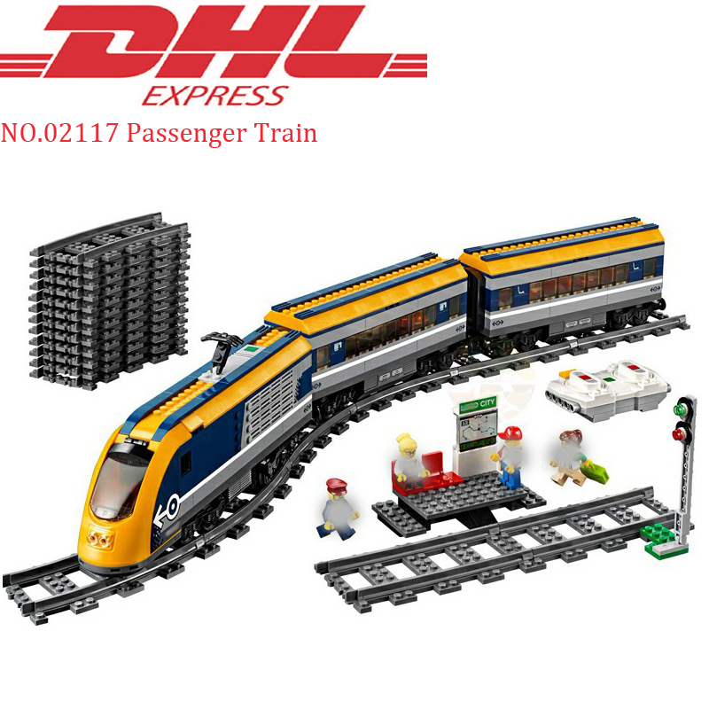 DHL Lepin 02117 758Pcs City Figures Passenger Train Sets Model Building Blocks Bricks Toys For Children Compatible LegoING 60197