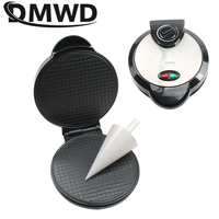 DMWD Electric Crispy Egg Roll Maker Omelet Sandwich Iron Crepe Baking Pan Waffle Pancake Oven DIY Ice Cream Cone Machine EU Plug