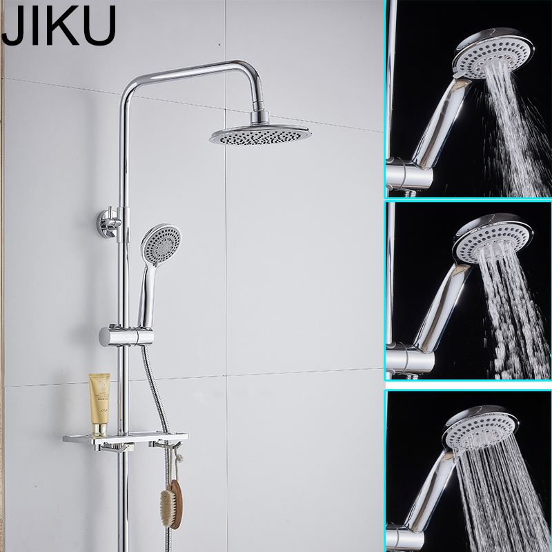 JIKU 3 modes ABS plastic Bathroom Shower Head Big panel Round Chrome Rain Head Water Saver Classic Design G1 2 Rain Shower Head in Shower Heads from Home Improvement