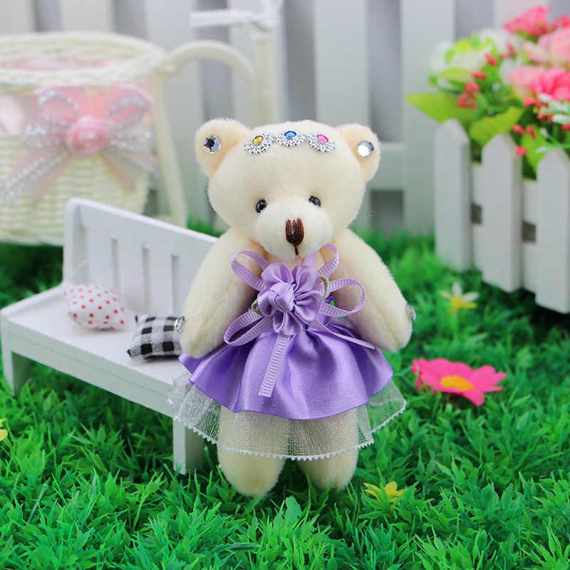 Mini Modelo de Flor Vestido Bonito Brinquedos de Pelúcia Arco Frisado Meninas Do Bebê Mão Ursos de pelúcia Bouquets Acessório do dia Dos Namorados natal presente