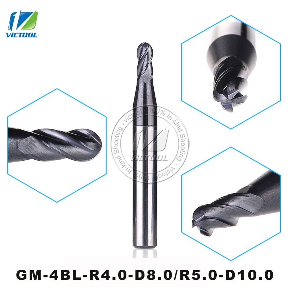 GM-4BL-R4.0/R5.0 Cemented Carbide Higher Feed Speed Machining Efficiency 4-flute Ball Nose End Mills With Straight Shank Tools zcc ct gm 4bl r7 0 4 flute ball nose end mills with straight shank long cutting edge end mills cutter