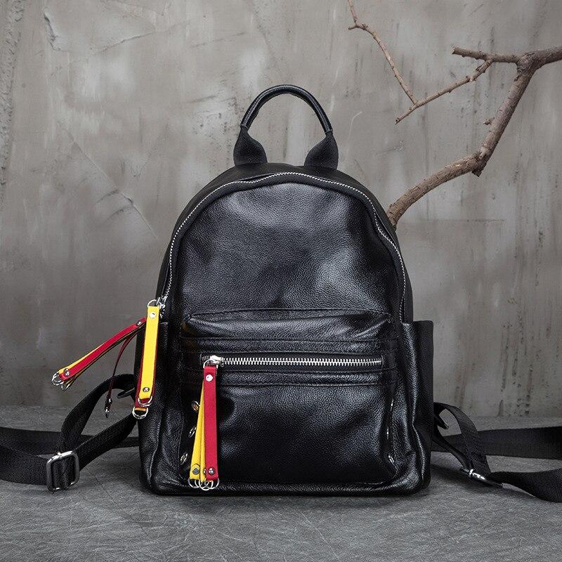 2018 Для женщин рюкзаки новый первый слой кожаная дорожная сумка маленький корейский женский черный натуральная кожа школьница рюкзак - 6